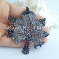 Костюм аксессуар кленовый лист брошка w черный горный хрусталь кристаллы EE03976C6