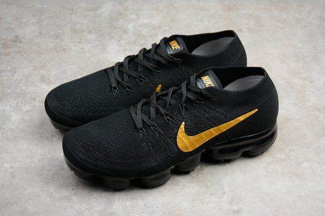 0123a3e27cf06 Humanized Nike Air VaporMax Flyknit Black Gold AA3851 107 Men s Running  Shoes Trainers
