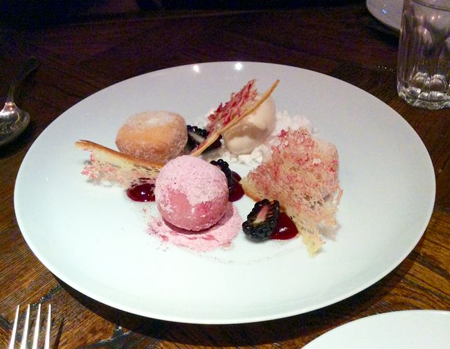 "A dessert of ""P.B.J."" : cherryade parfait, peanut ice-cream and cherry jam doughnuts... at Social Eating House #London #Restaurants"
