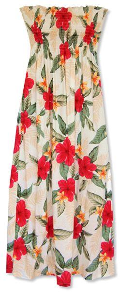 dresses to wear... makaha cream maxi hawaiian tube dress @ lavahut