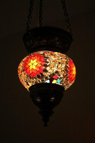 Colourful Boho Turkish Glass Mosaic Lantern