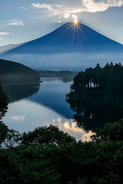 """Mount Fuji, Japan.  Called """"Diamond Fuji"""" which you cannot see often"""