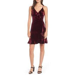 Women's Soprano Ruffle Velvet Faux Wrap Dress