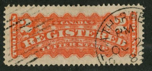 Canada-F1a-2c-Vermilion-1875-88-Registered-Mtl-Ptg-VF-82-Used