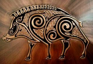 This is a beautiful Celtic Boar done on copper by a wonderful artist we met at the Milwaukee Irish Fest a few years ago named Katheryn. She can be found under the name of Dragon Fire Art.