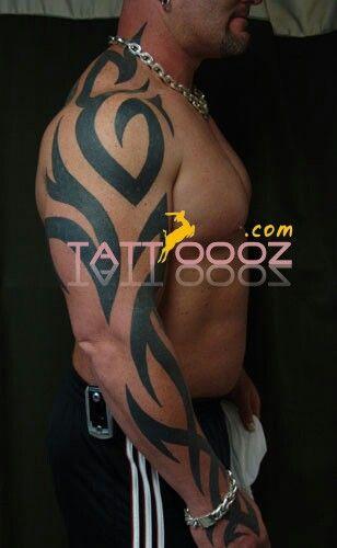 Tribal sleeve tattoo designs on men shoulder # it made by black ink # it look so…