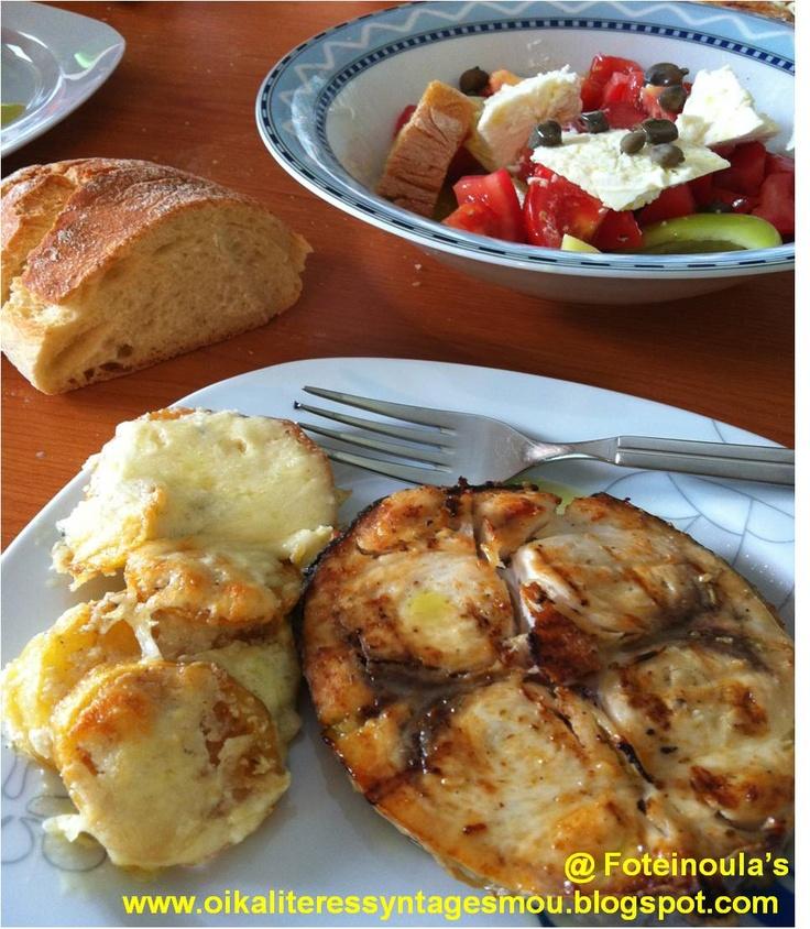 Swordfish and potatoes augratin