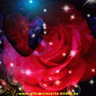 Rote Rose mit Herz und Sternenfunkeln Gif animiertes Bild