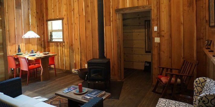 All cabins have a wood burning stove in the living to keep you warm during the snowy winters.