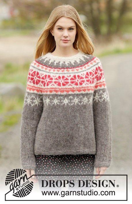 Visa detaljer för Stickmönster till tröja med nordiskt mönster i 2 trådar Drops Brushed Alpaca Silk