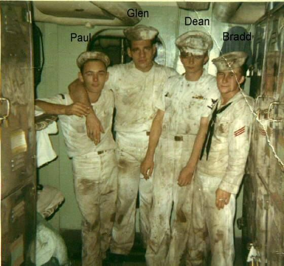USS Coral Sea sailors after a night on the town. Subic Bay PI. circa 1968