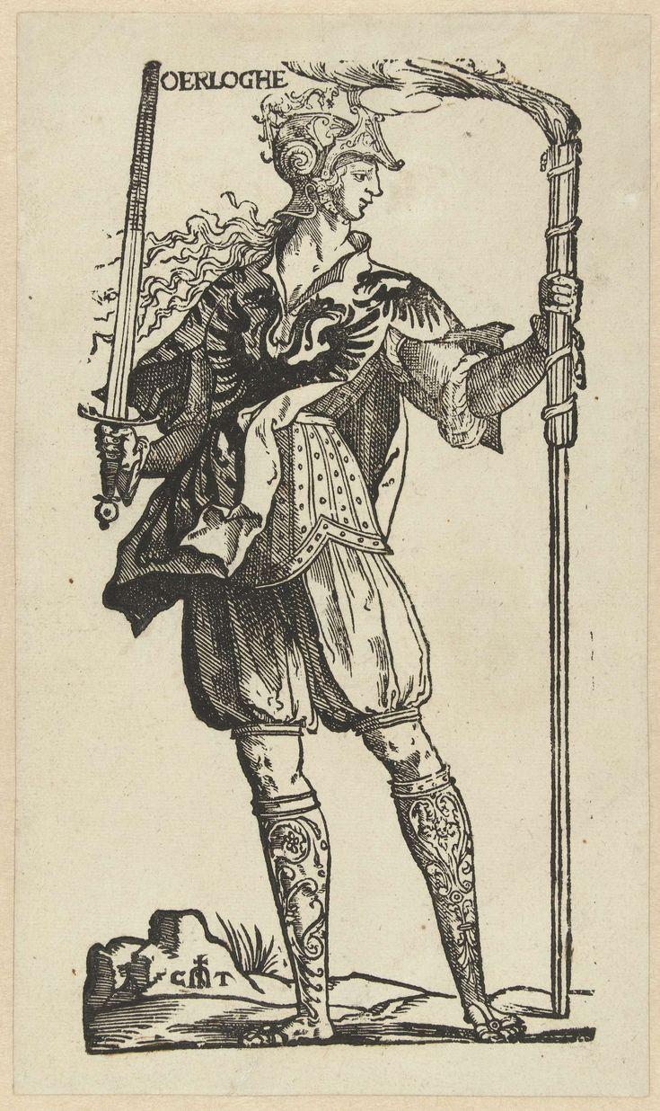 Cornelis Anthonisz.   De Oorlog, Cornelis Anthonisz., Jan Ewoutsz., 1546   Deel van de serie Misbruik van Voorspoed, maar hier gedrukt als zelfstandige voorstelling, zonder omlijsting en tekst. Personificatie van de oorlog. Een vrouw van voren gezien, het hoofd en profiel naar rechts. Helm op het hoofd, in de rechterhand een zwaard en in de linker een brandende fakkel. Zij is in krijgstenue en heeft een wapenrok aan, waarop een wapen met twee adelaars.