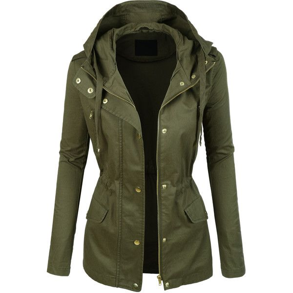 LE3NO Womens Lightweight Cotton Military Anorak Jacket ($29) ❤ liked on Polyvore featuring outerwear, jackets, military fashion, cotton military jacket, green anorak, lightweight jackets and green military style jacket