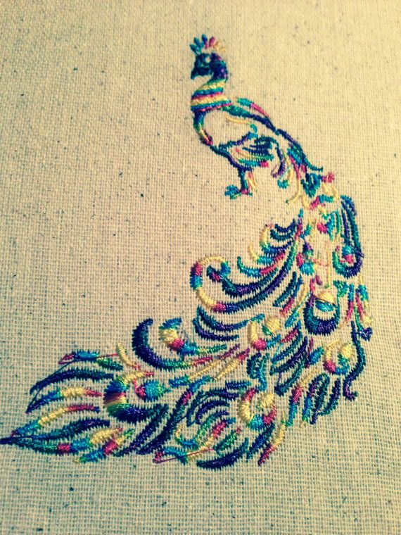 GG1174 Peacock embroidery design one color by GnGDesigns on Etsy, $4.00
