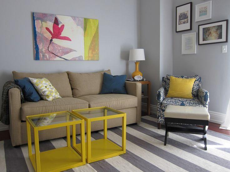 This room must serve as a nursery and a sitting area/lounge, and we LOVE the gray + yellow color scheme!Guest Room, Colors Combos, Nurseries Lounges, Pictures Layout, Picture Layouts, Living Room Colors, Projects Nurseries, Cozy Living Rooms, Gray Yellow