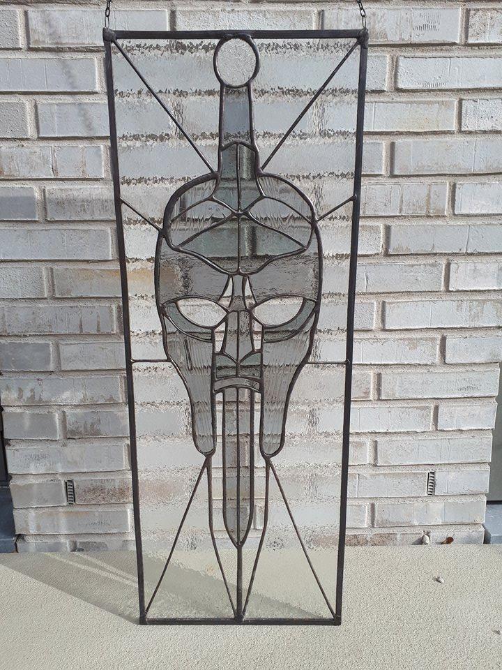 Logo ~ Stained Glass ~ Grey ~ ArrowGlass ~ Tiffany