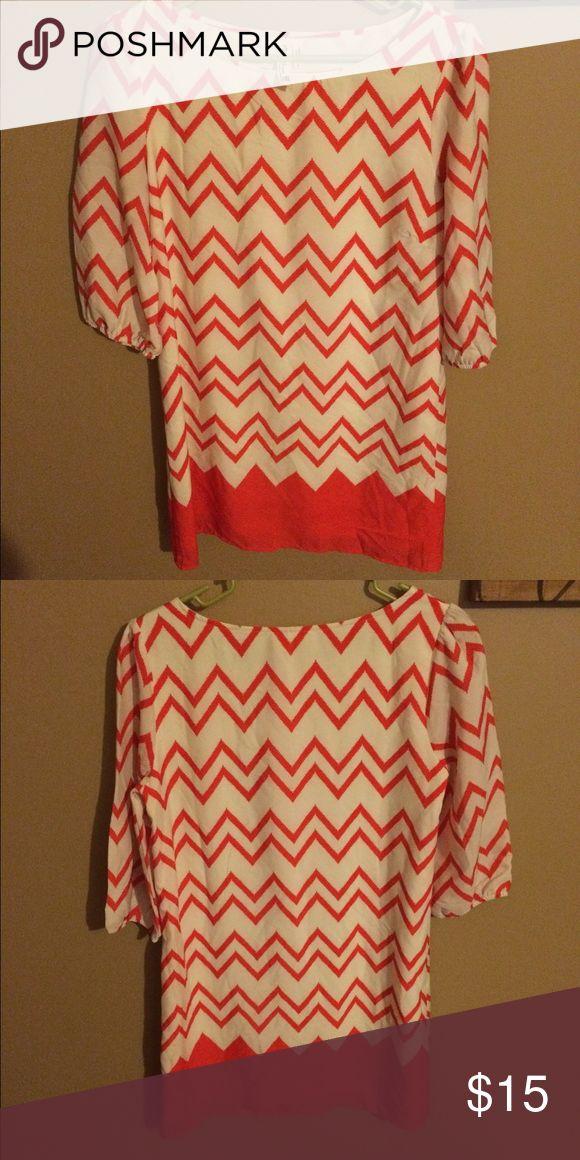 Orange Chevron Dress Orange chevron pattern. Came from Entourage Boutique in Athens, Ga. Perfect condition! Dresses Long Sleeve