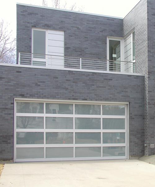 Modern glass garage door, full view garage door in aluminum frame