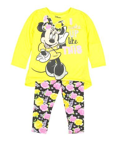 e2f927790d8a2 Look what I found on #zulily! Minnie Mouse Yellow & Floral Tee ...