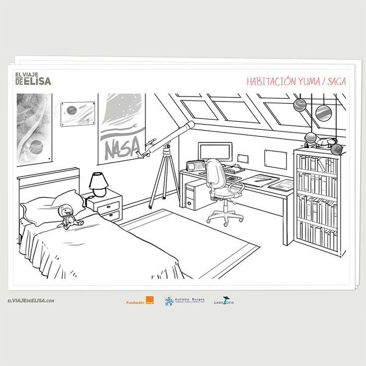 Concept art de #elviajedeelisa Primeros bocetos de la habitación de nuestro protagonista con síndrome de #asperger
