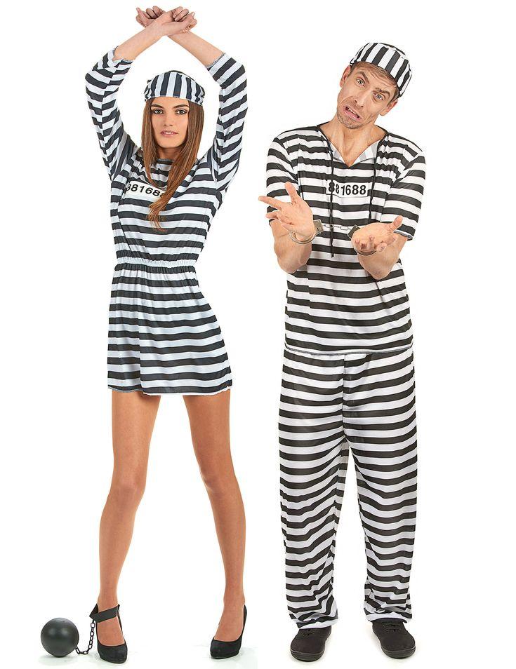 Disfraz de pareja de presos: Disfraz de presa para mujer. Este disfraz de presa para mujer se compone de un traje, un sombrero y un número de reclusa (esposas y medias no incluidas). Todo el disfraz está hecho de...
