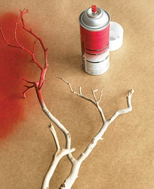 faux coral: spray painted branches