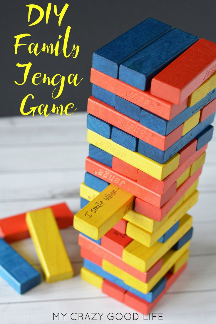Turn your boring, regular game into an amazingly entertaining DIY Family Jenga! Everyone will be thinking, moving, and laughing before you know it! via @bludlum
