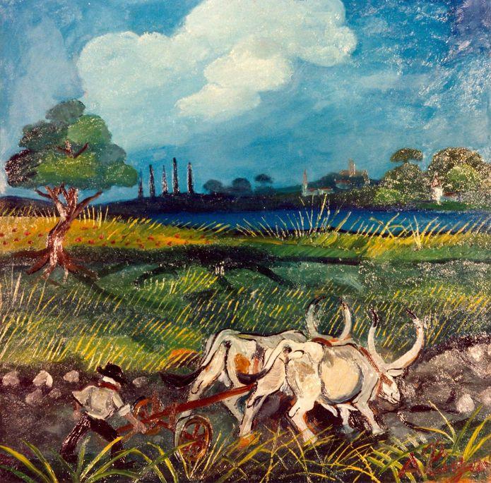 Antonio Ligabue, Aratura con buoi 2, olio su tela, Collezione Banca Popolare di Bergamo - CoSA | Contemporary Sacred Art