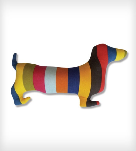 Dachshund striped cutout pillow. Doxie Silhouette Pillow by Naked Décor #hearthandmade