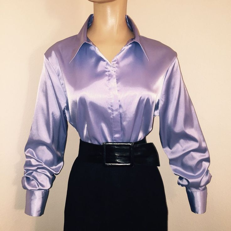 L * LAVENDER Stretch LIQUID SATIN Shiny BLOUSE Fitted ...