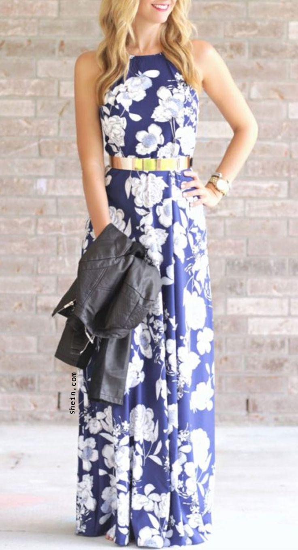 Blue Halter Neck Floral Print Maxi Dress