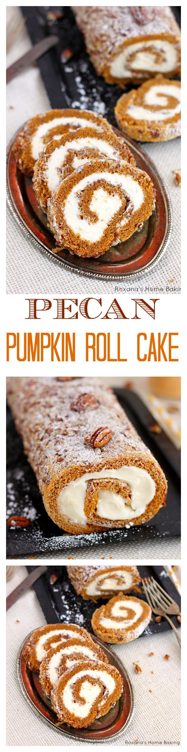 A classic fall dessert, pecan pumpkin roll cake with smooth cream cheese filling is a must at our Thanksgiving table. One bite and you'll understand why!