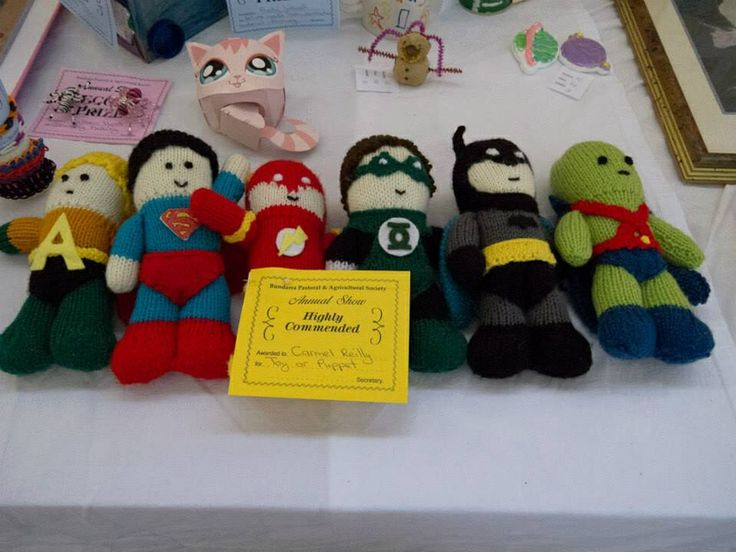 A collection of knitted superheroes!