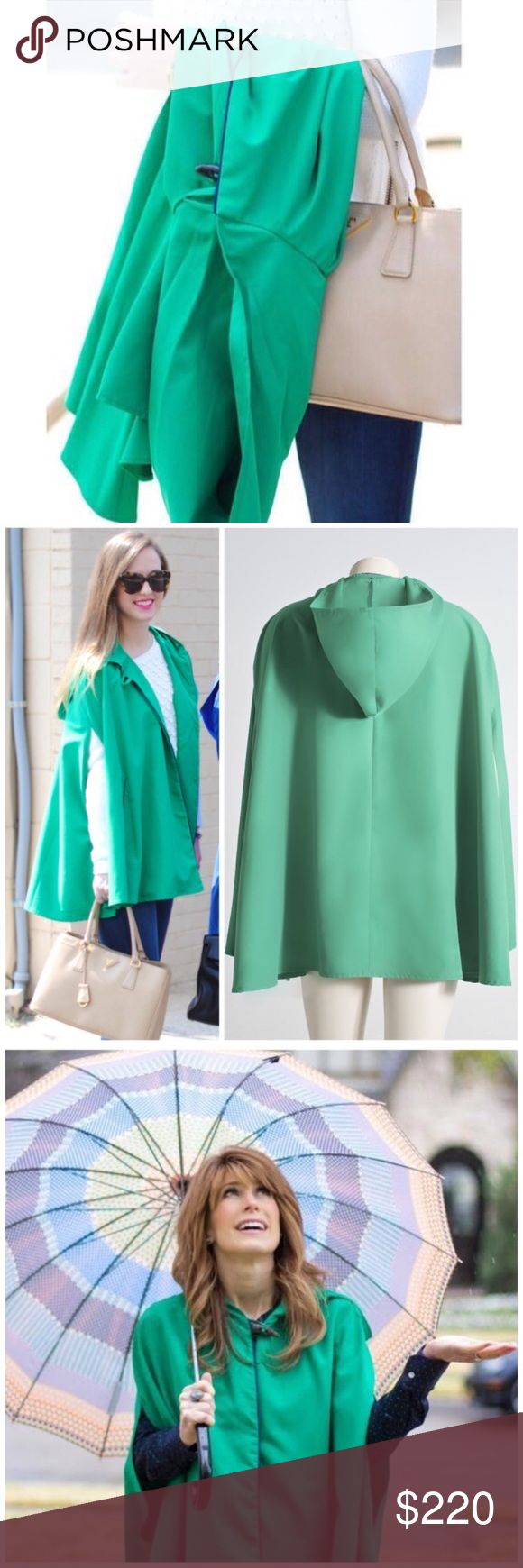 """Game Day"" coat lightweight Cape This is the cutest raincoat cape that I own, so I just HAD to pick up an extra for you! Size (s) lightweight cape is perfect for looking chic while it rains on all your haterssssss 😀😎🌂 brand new with tags // vibrant green cape highlighted by royal blue piping has perfectly placed front side pockets. With this cape jacket, no umbrellas or cheap plastic ponchos are needed // only showing other colors in final pic to show more details of the overall body…"