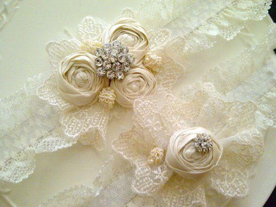 Lace Wedding Garter Lace Garter Set Vintage by DeesByDesign, $40.00