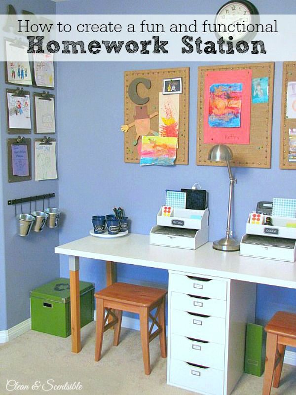 great ideas to create a kids homework station cleanandscentsiblecom - Kids Room Desk Ideas