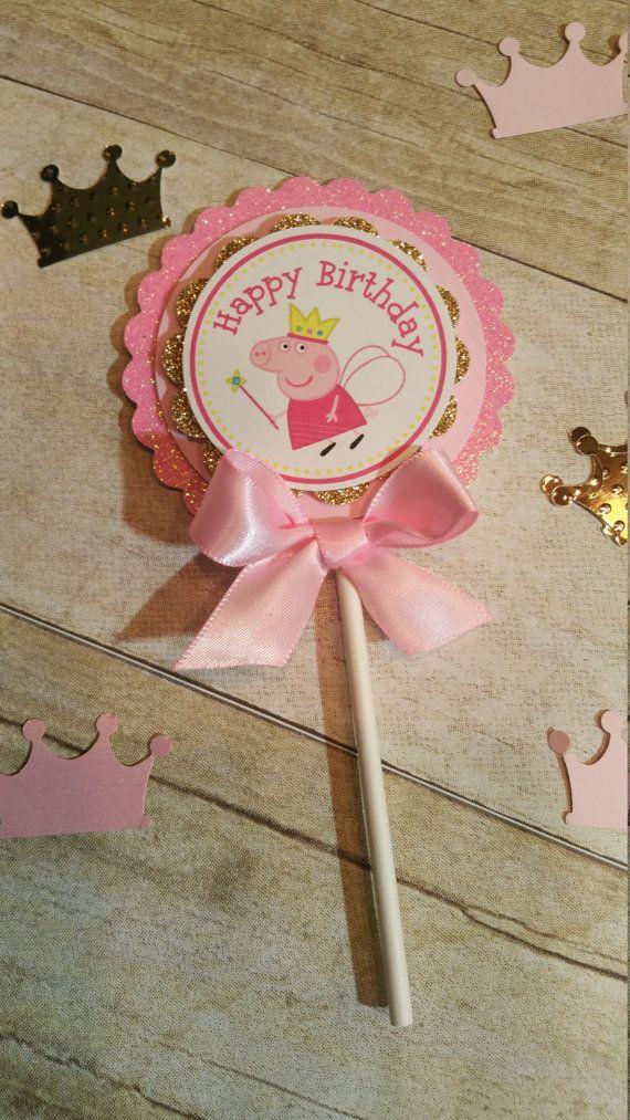 Rosa y oro partido Peppa pig inspirado tema Peppa Pig y