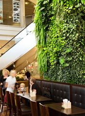 Plantwall, Växtvägg, Green Fortune, Väsby Centrum, Stockholm, Sweden. Restaurant, food retail.