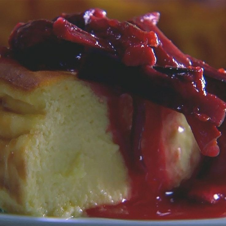 Try this Warm Curd Cake with Honey Rhubarb recipe by Chef Paul West . This recipe is from the show River Cottage Australia.