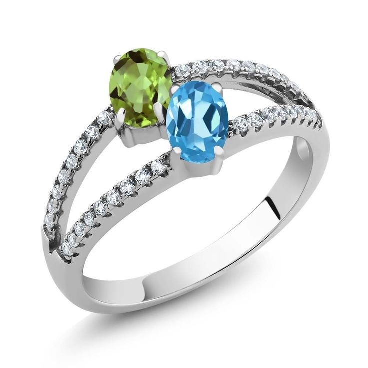 1.41 Ct Oval Green Peridot Swiss Blue Topaz Two Stone 925 Sterling Silver Ring | Jewelry & Watches, Fine Jewelry, Fine Rings | eBay!
