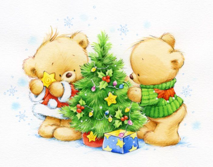 Новогодние рисунки для открытки милые