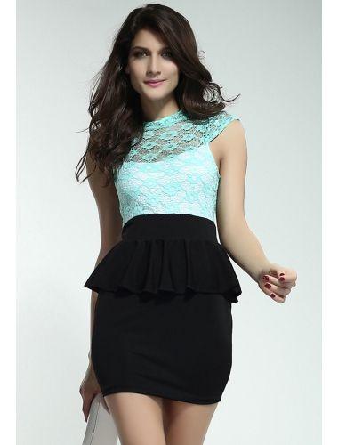 Celestial-Mint-Green-Floral-Lace-Black-Peplum-Dress | buy sexy Club Dresses ,  Club wear online in india | StringsAndMe