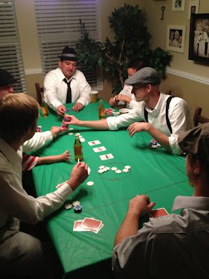Cool Idea cover the tables in a simple green plastic cloth and throw some decor on it, but not so much the guys can't play :)