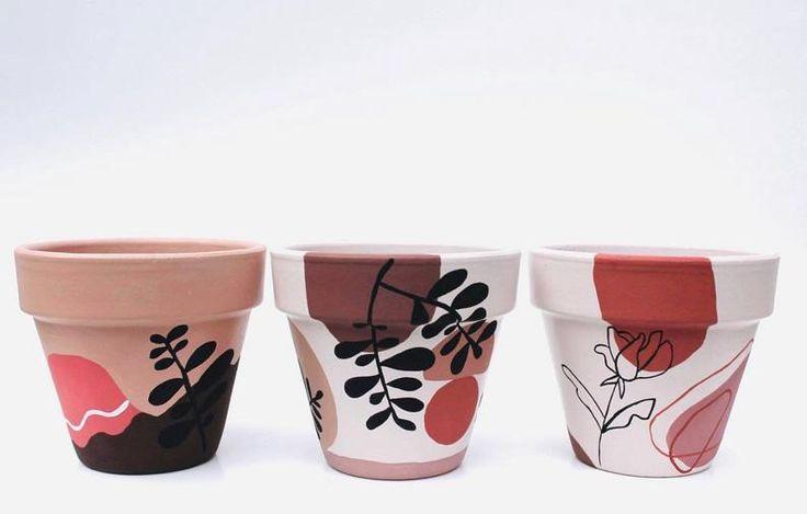 Painted Plant Pots, Painted Flower Pots, Pots D'argile, Mini Vasos, Flower Pot Art, Creation Deco, Pottery Painting Designs, Potted Plants, Etsy