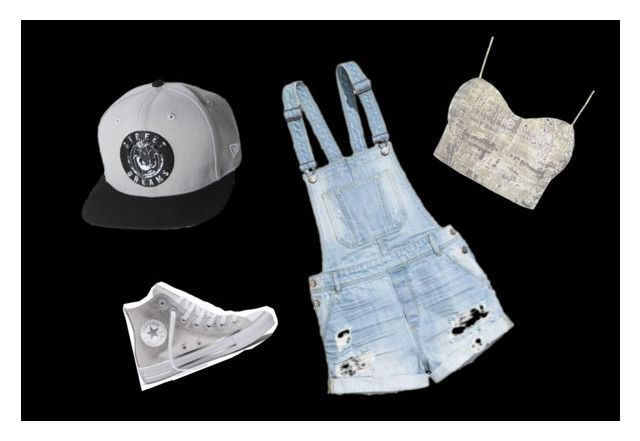 """Silvery"" by kaschiero ❤ liked on Polyvore featuring Sans Souci, H&M and Converse"