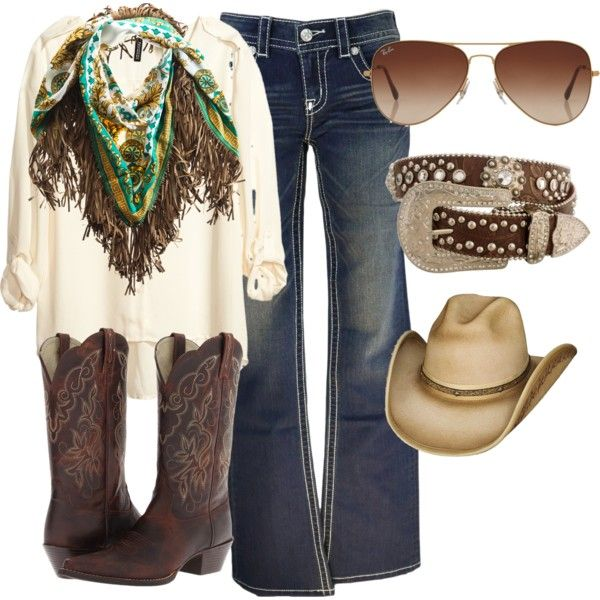 Country girl fashion by dreamxcarolinaa on Polyvore featuring H&M, Miss Me, Ariat, EBONY & IVORY, Rayban and country