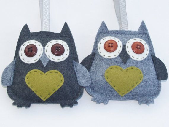 Wool Felt Owl Green Hanging Decoration Child by SaraLouiseTextiles, £6.50