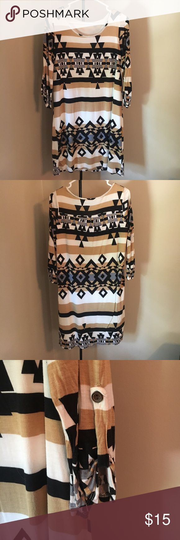 Aztec print dress with quarter length sleeves Aztec print dress with quarter length sleeves. Soft fabric with liner. Dresses Long Sleeve