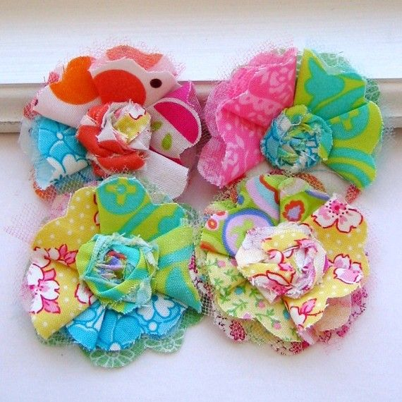 Folded Fabric and Tulle Flower Mini Rolled by tracyBdesigns