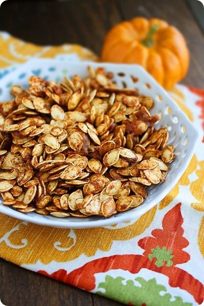 Salted Caramel Pumpkin Seeds  Yield: Makes 2 cups Ingredients:  3 tablespoons granulated sugar  1/4 teaspoon ground cinnamon  1/4 teaspoon ground ginger  1/8 teaspoon ground nutmeg  2 cups raw pumpkin seeds, rinsed and pat dry  Nonstick cooking spray  1 tablespoon butter  1 tablespoon each, brown sugar and granulated sugar  1/2 teaspoon salt